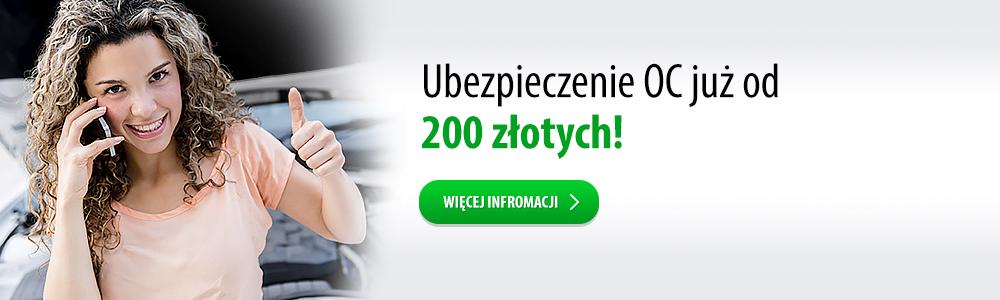Ubezpieczenie OC już od 200 złotych
